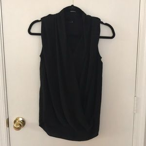 Soft polyester tank with front draping detail